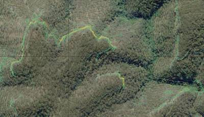 TPI from LIDAR DEM combined with contours and imagery to show clifflines and terrain